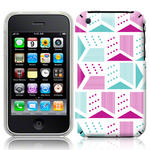 View Item iPhone 3GS / 3G Metrix Bright Fashion Case Cyan/Purple/White