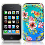 View Item iPhone 3GS / 3G Hawaiian Print Totally Tropical Case Parrot With Blue And Green Vingette
