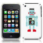 View Item iPhone 3GS / 3G Vintage Retro Blue Robot With Wire Hair Hard Back Case