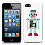 View Item iPhone 5 Vintage Retro Blue Robot With Wire Hair Hard Back Case