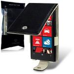 View Item Nokia Lumia 920 Genuine Leather Flip Case (Cream Interior) - Black by Terrapin