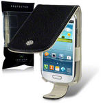 View Item Samsung Galaxy S3 Mini I8190 Techstyle Leather Flip Case - Black - Cream By Terrapin