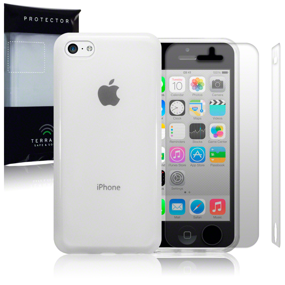 Clear Rubber Case Cover for New Apple iPhone 5C Free Screen Protector Guard