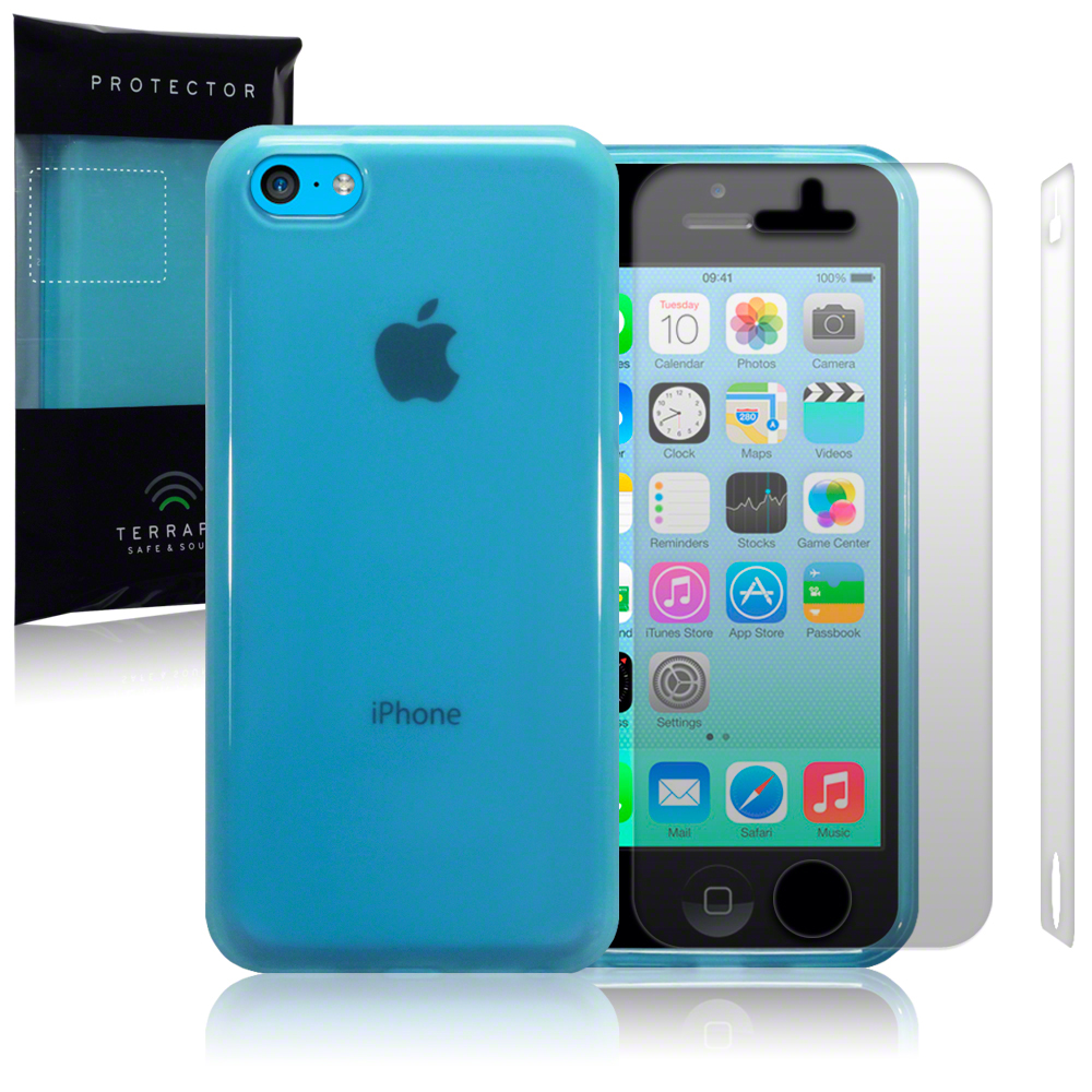 Blue Rubber Case Cover for New Apple iPhone 5C Free Screen Protector Guard