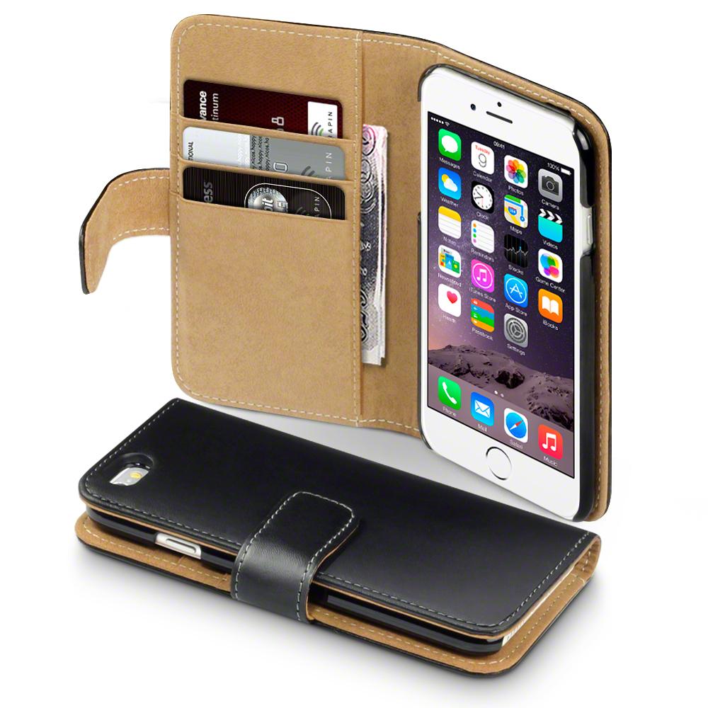 premium tui de portefeuille en faux cuir pour apple iphone 6 6s noir bronz ebay. Black Bedroom Furniture Sets. Home Design Ideas