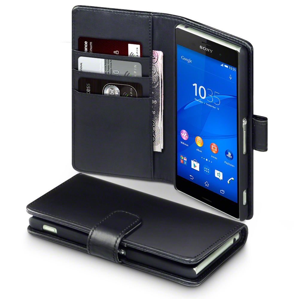 Details about Terrapin Black Real Leather Wallet Case for Sony Xperia