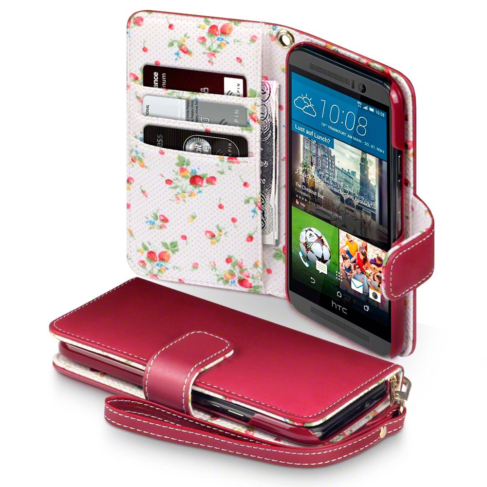 premium tui de portefeuille en faux cuir pour htc one m9 rouge avec floral ebay. Black Bedroom Furniture Sets. Home Design Ideas