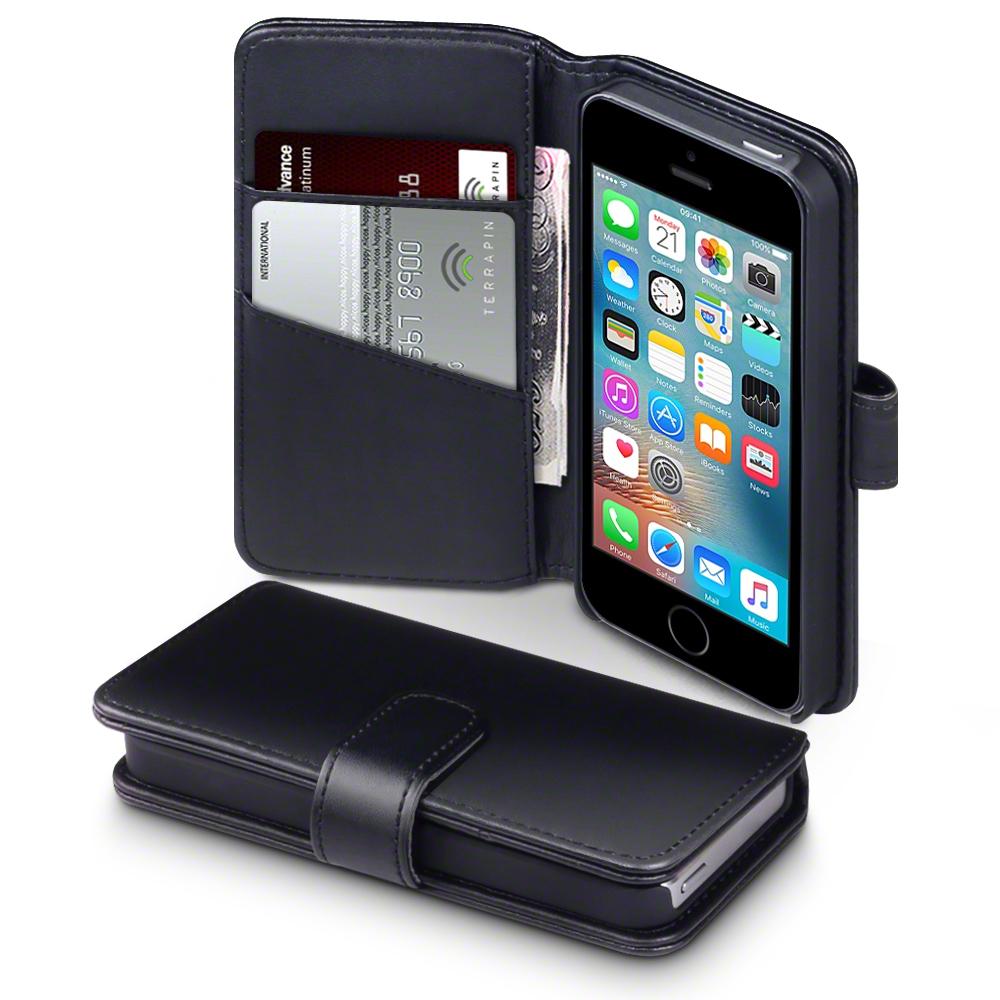 cuir v ritable tui porte feuille pour apple iphone se noir ebay. Black Bedroom Furniture Sets. Home Design Ideas