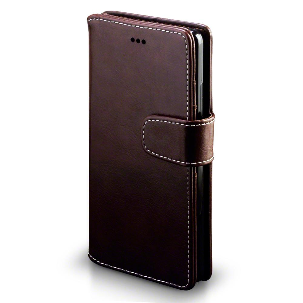 tui de portefeuille en faux cuir avec stand pour huawei p9 marron blanc cousu ebay. Black Bedroom Furniture Sets. Home Design Ideas