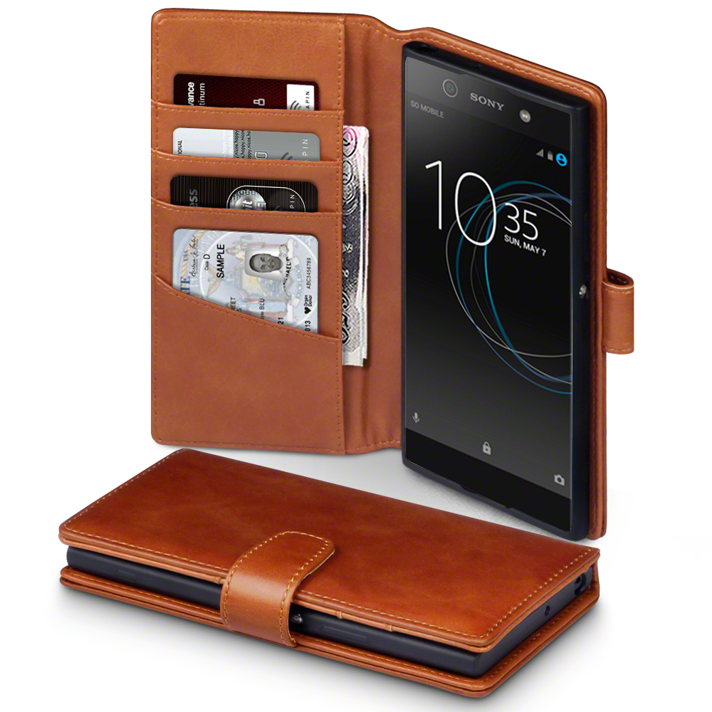 Luxury real leather viewing stand wallet case for sony for Housse xa1 ultra