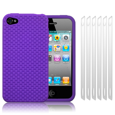 PURPLE SILICONE SKIN FOR IPHONE 4 / 4S, W/6 PC LCD GUARD