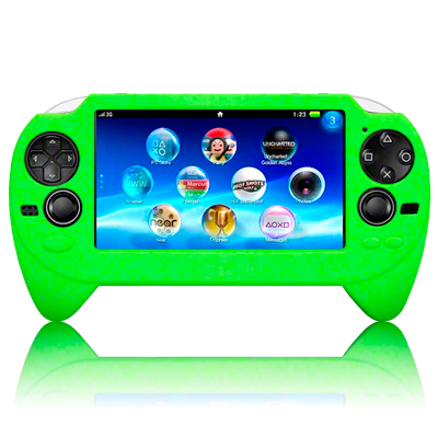 silicone rubber case for sony psp vita green