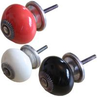 Round Bulbous Painted Drawer Draw Cupboard Knobs in Choice of Colours