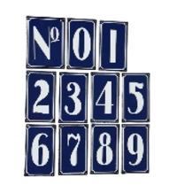 Metal Blue Traditional French Chic House Number Tiles Sign Plaque