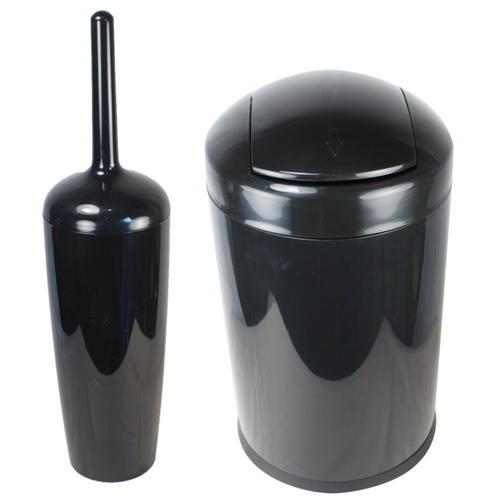 2pc bathroom accessory set bin toilet brush ebay for Bathroom bin and brush set