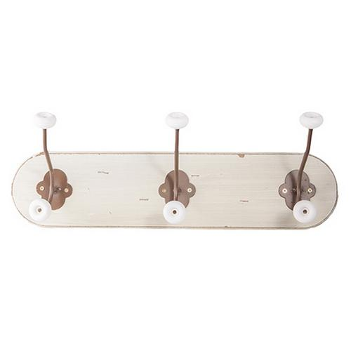 french shabby vintage chic antique style wood 3 hook distressed coat rack hook ebay. Black Bedroom Furniture Sets. Home Design Ideas