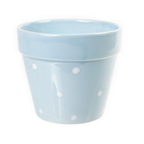 Pastel coloured w polka dot design ceramic indoor window for Design indoor plant pots uk