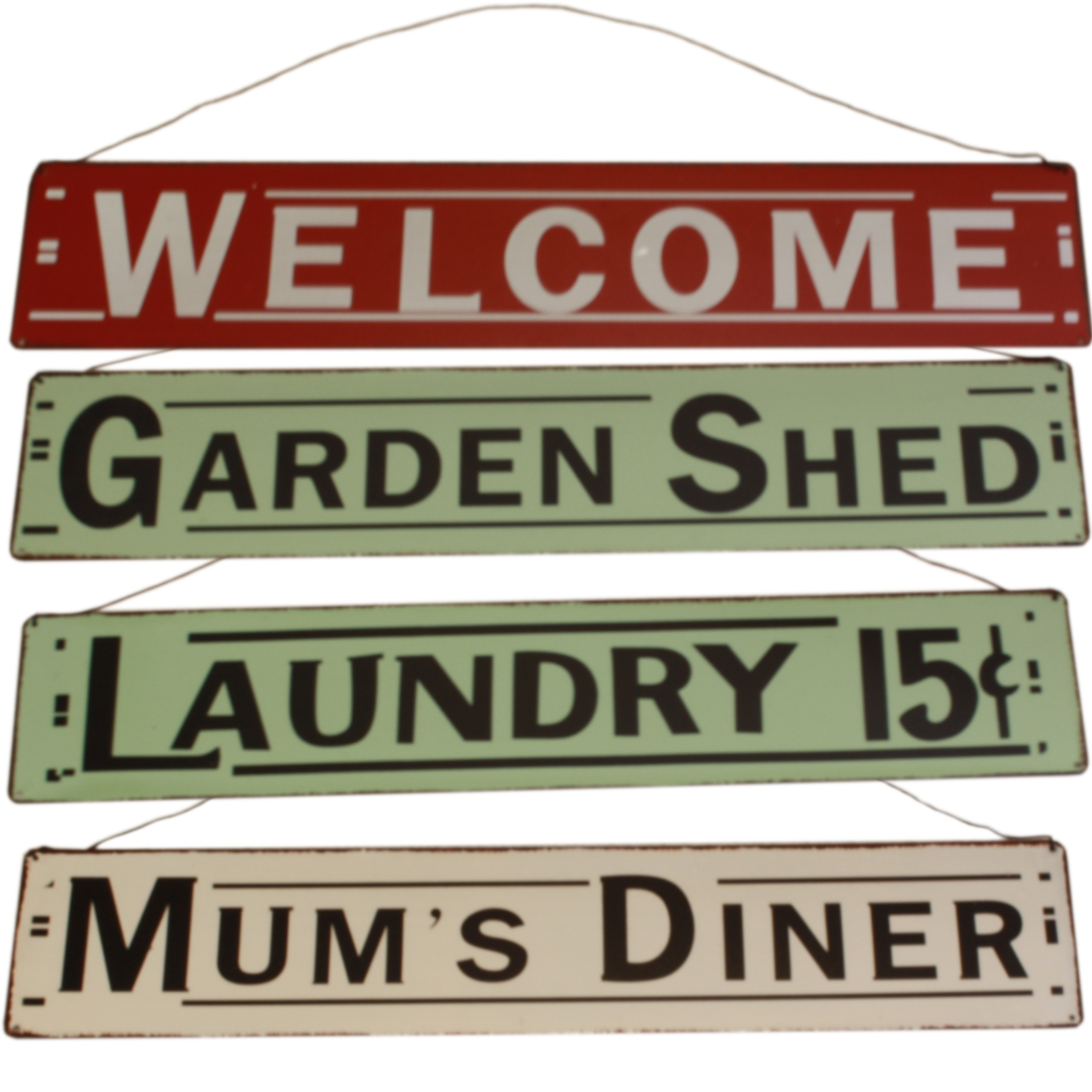 Americana Wall Decor Plaques Signs: Various Aged Home Americana Style Wall Sign Metal Retro