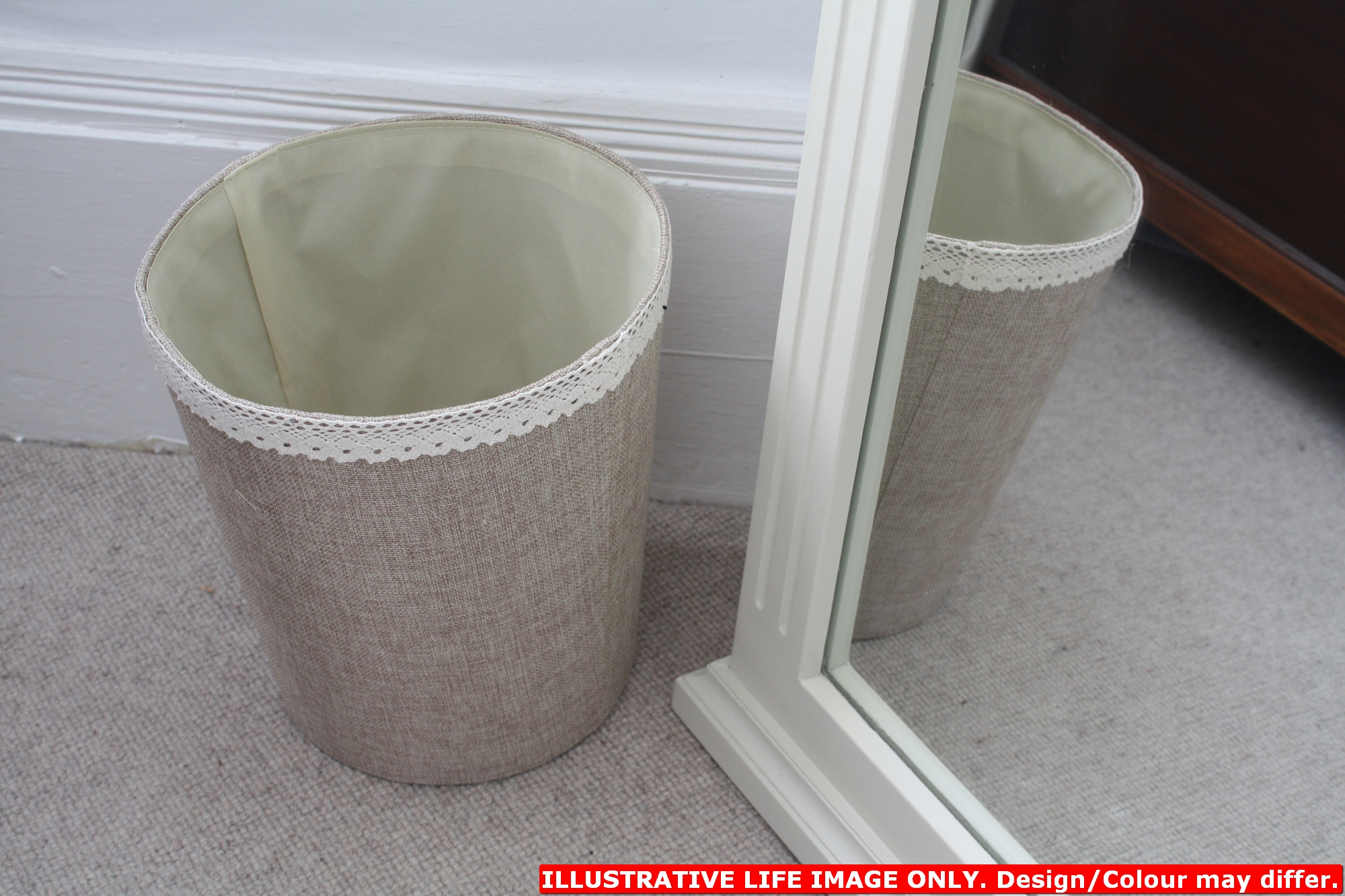 Elegant Lace Finished Jute Desk Bedroom Office Waste Paper