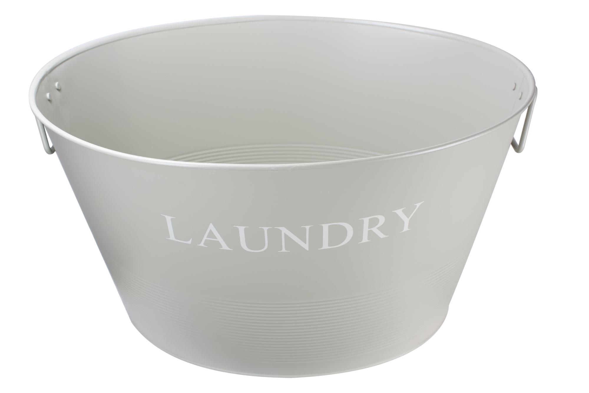 Metal Laundry Tub : Traditional Metal Laundry Washing Basket Tub Carrier Handles French ...