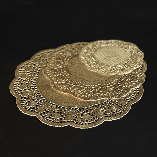 gold paper doilies