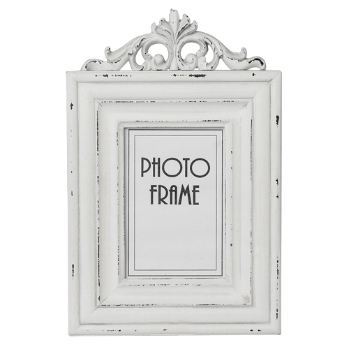 Small Rococo Wooden White Distressed Picture Frame