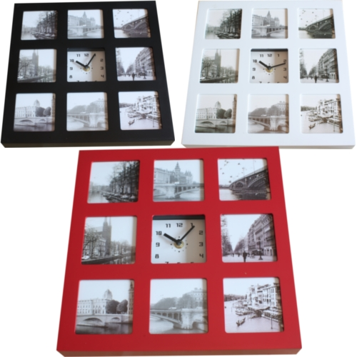 mehrfach fotografien bild wand h ngend foto bilderrahmen uhr schwarz rahmen. Black Bedroom Furniture Sets. Home Design Ideas
