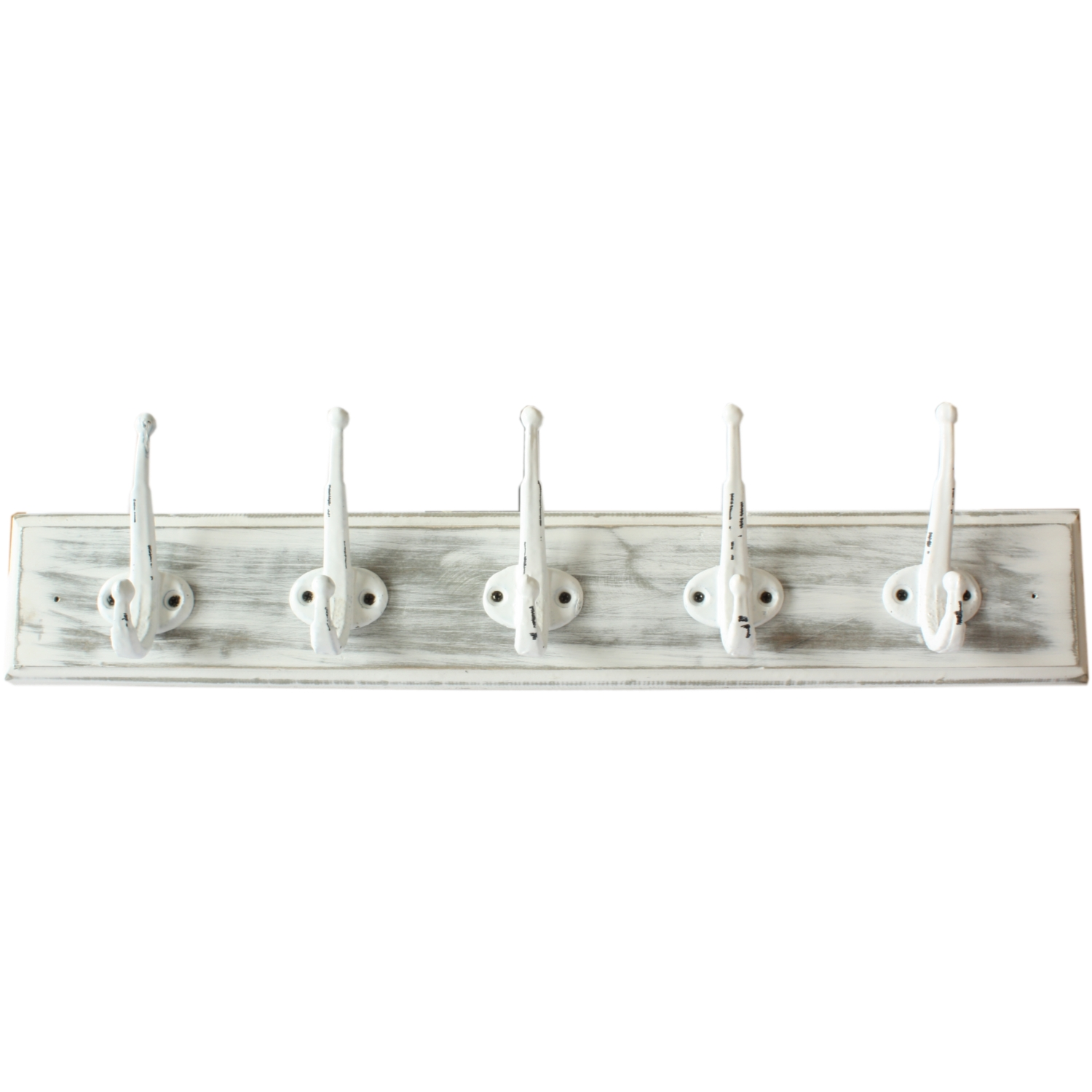 New England Wooden White Distressed 5 Hook Coat Rack Ebay: white wooden coat hooks