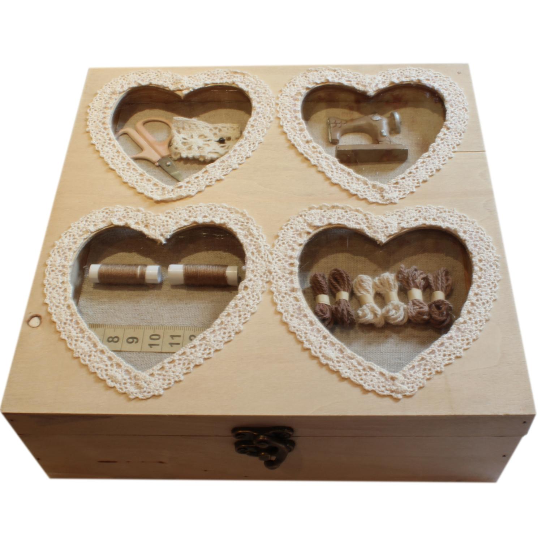 vintage shabby french chic wooden sewing box blendboutique. Black Bedroom Furniture Sets. Home Design Ideas