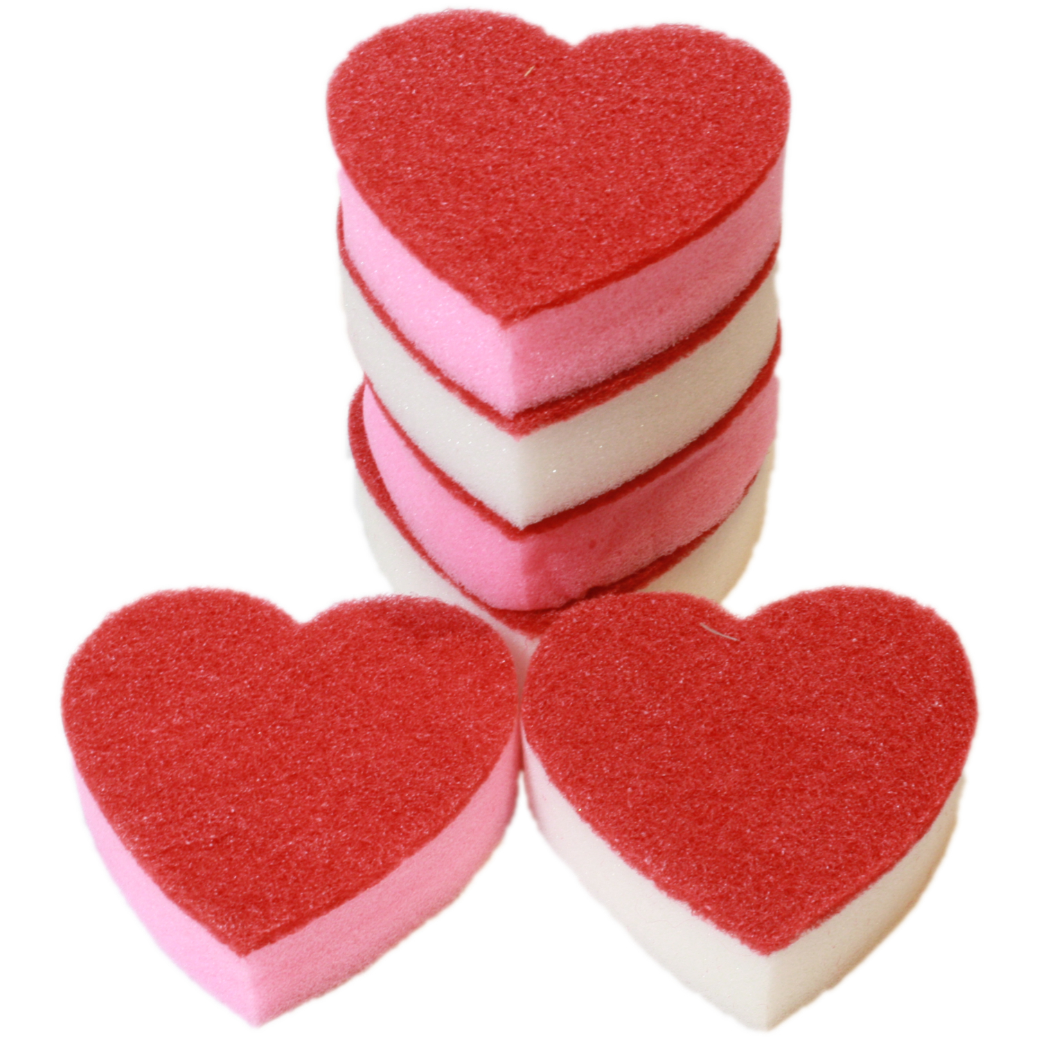 6x Heart Shaped Washing Up Sponges For The Love Of