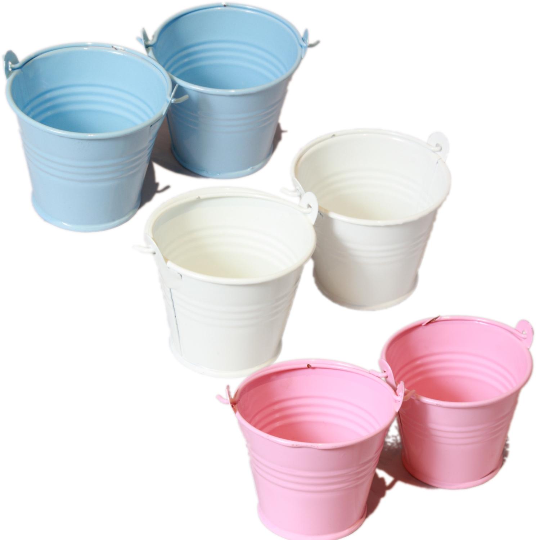 2x 2 galvanised metal mini craft pail buckets wedding for Small pail buckets