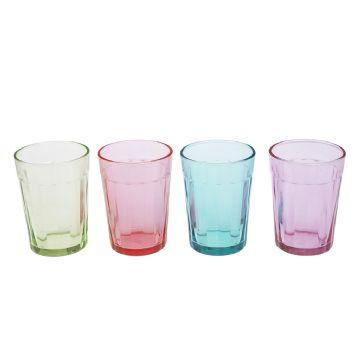 4x Vintage Summer Pastel Coloured Drinking Glasses