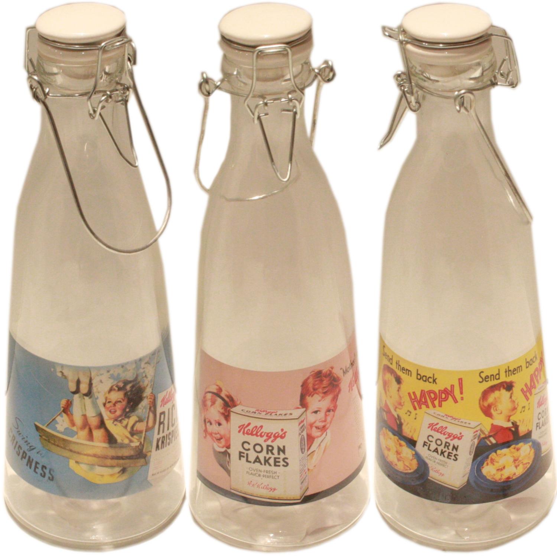 kelloggs vintage glass milk juice cordial swing flip clip
