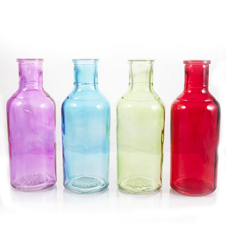 Coloured glass posy flower bottle vase h ebay for Flowers in glass bottles