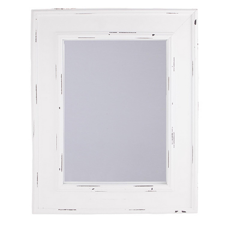 miroir mural avec cadre blanc aspect vieilli h51cm ebay. Black Bedroom Furniture Sets. Home Design Ideas