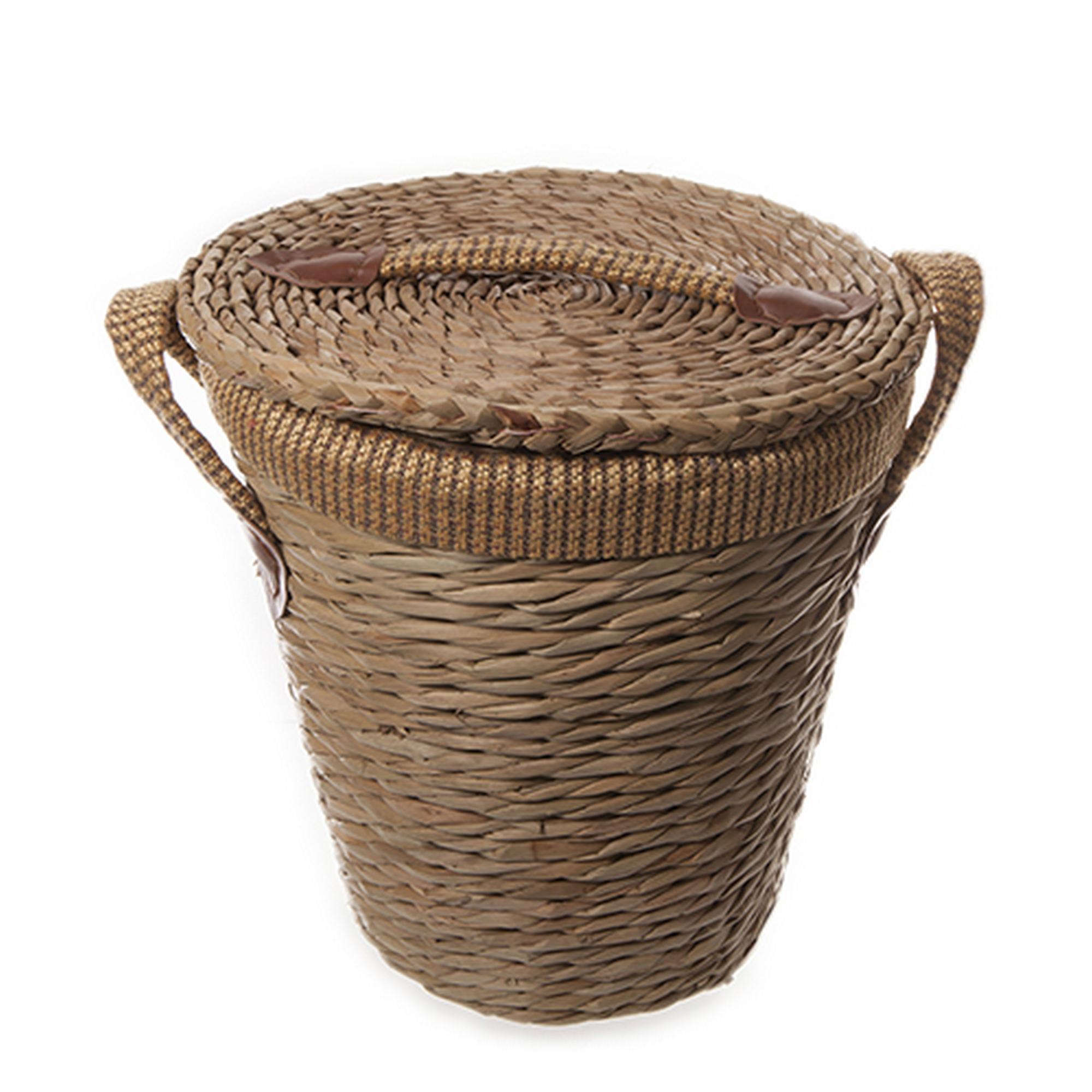Cestas para ropa sucia redondas y forradas con asas y tapa - Cestos para el bano ...