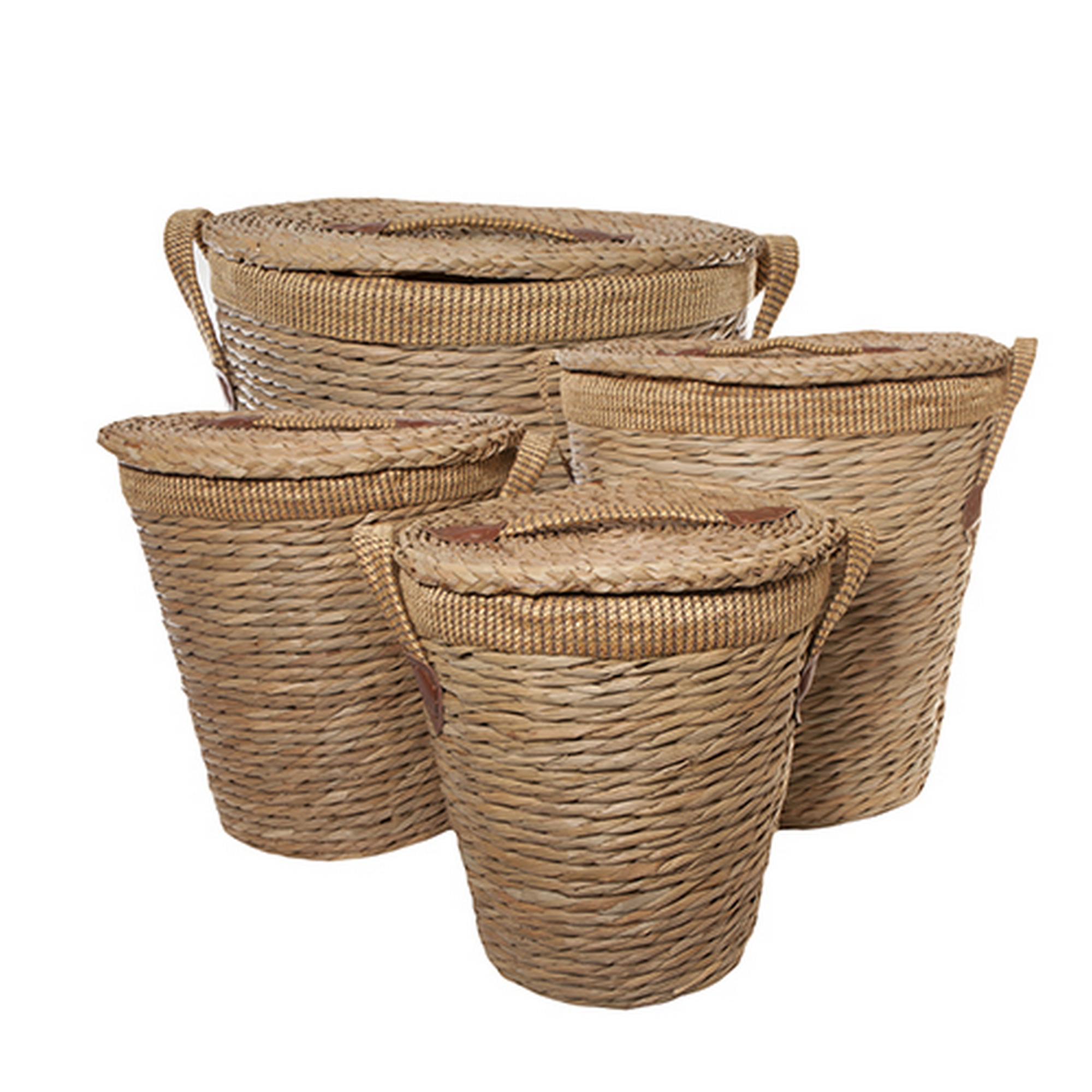 round and lined rush laundry bin baskets with handles and