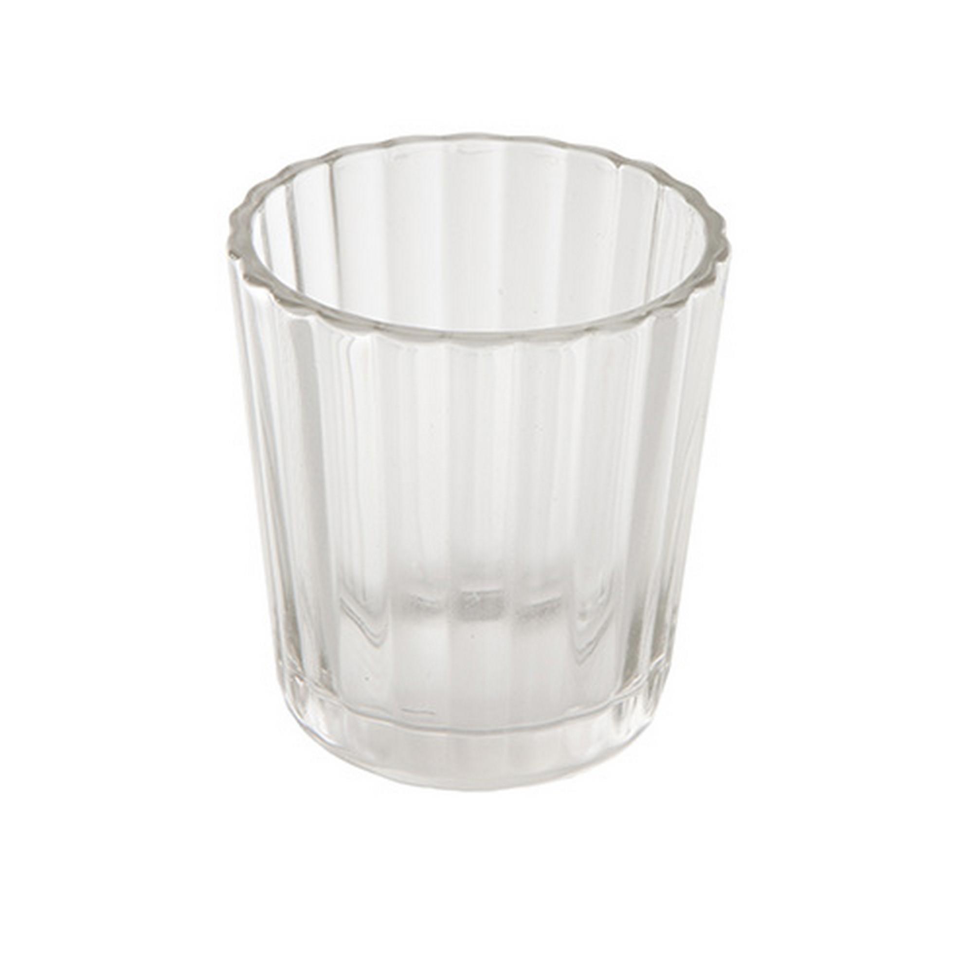 Clear Simple Bevelled Glass Round Tea Light Holder Blendboutique