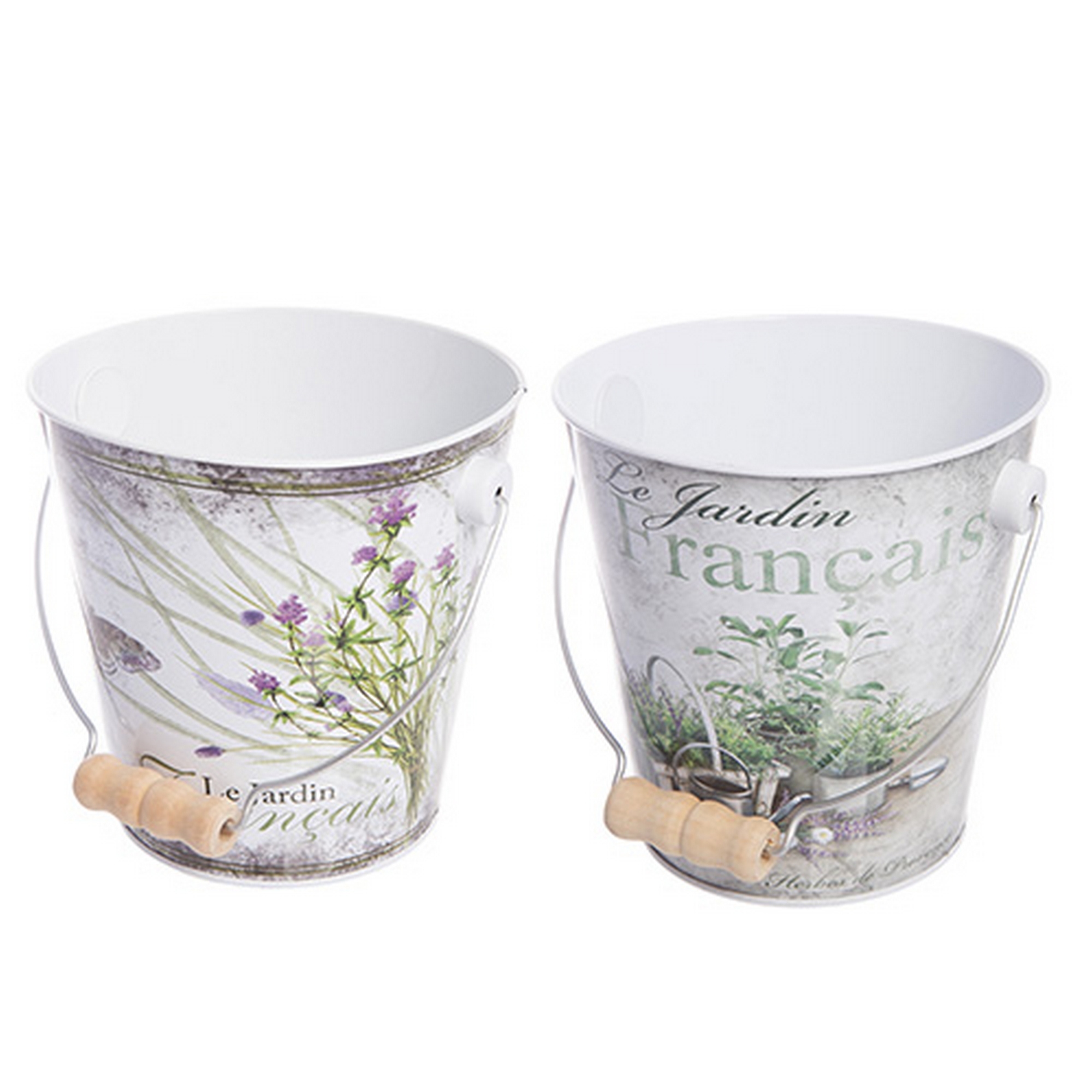 Metal french botanical le jardin pail kitchen planter for Jardin quand planter