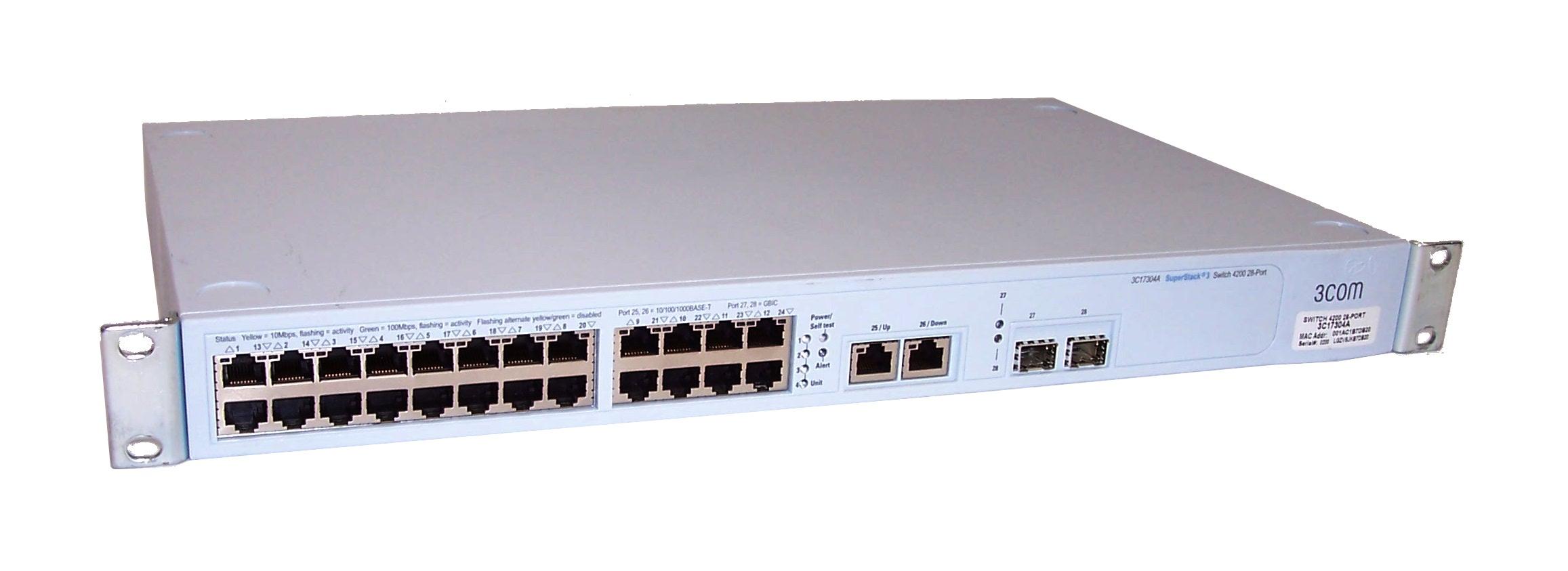 3com 3c17304a superstack 3 4200 switch de 28 puertos ebay for 3 com switch