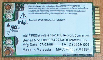 View Item INTEL WM3945ABG MINI PCIe WIRELESS CARD