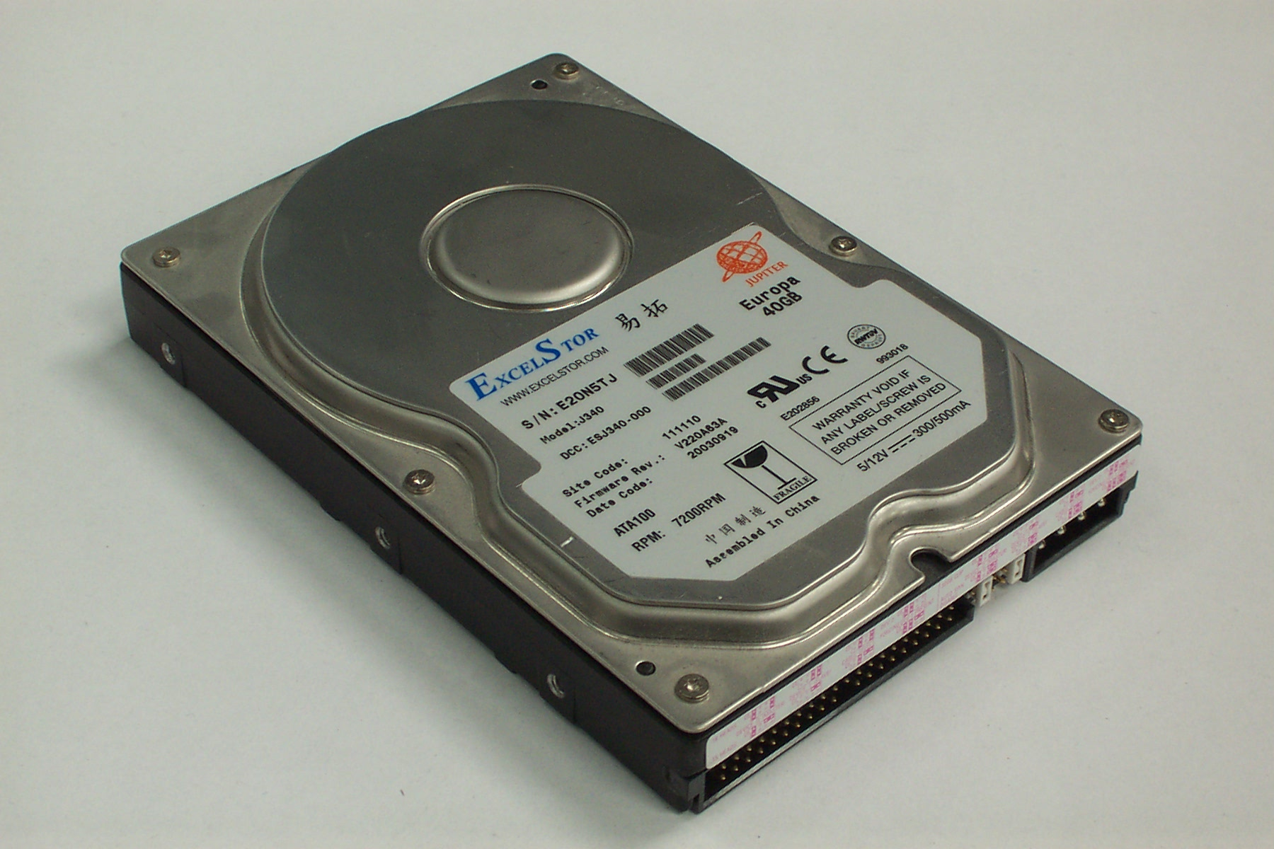 ExcelStor J340 Europa 40GB 7200RPM IDE Hard Disk Drive   eBay