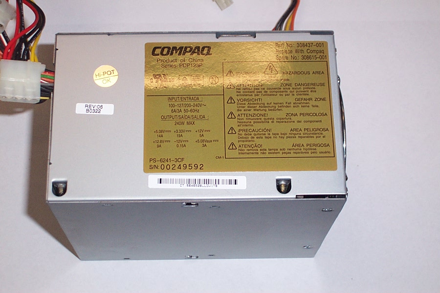 Compaq 308437-001 240W Max. d330d , d530 CMT Power Supply- SPS: 308615-001 Enlarged Preview