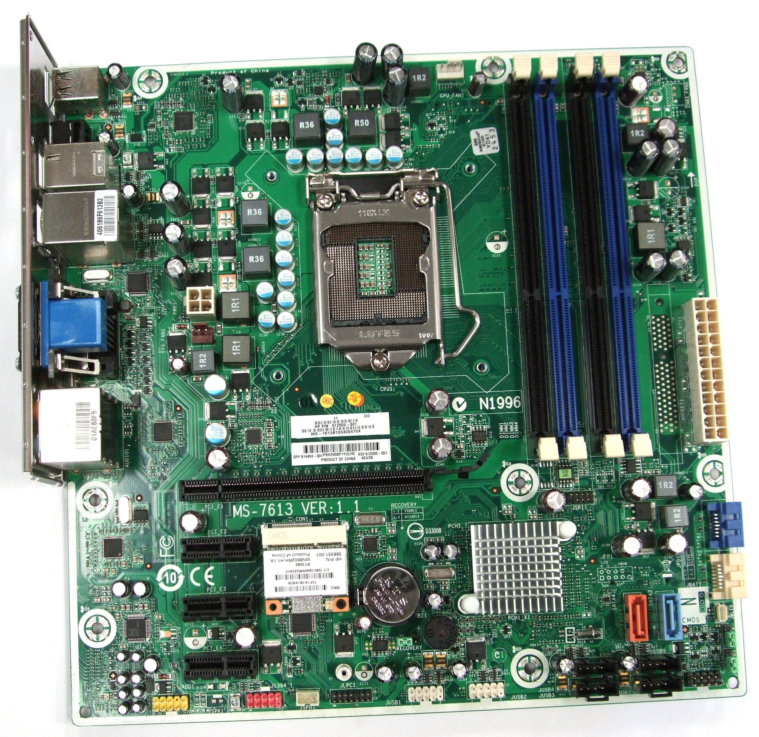 MS-7613 HP Compaq Elite Intel IONA-GL8E Motherboard - 612500-001/614494-001 Enlarged Preview