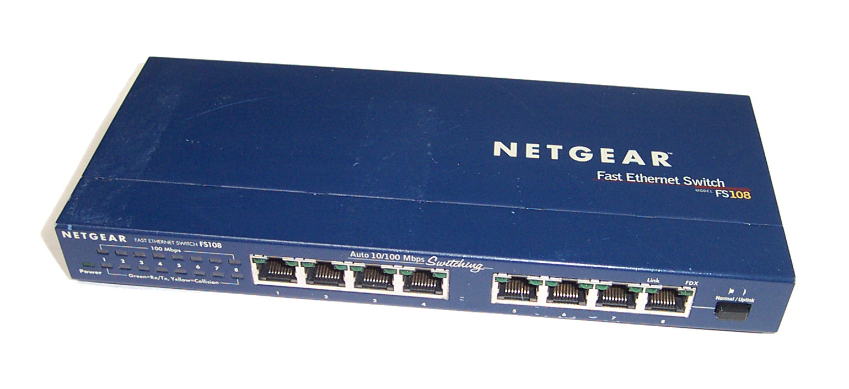 Netgear fs108 v2 8 port 10 100mbps fast ethernet switch bundle with ac adapter ebay - 8 port fast ethernet switch ...