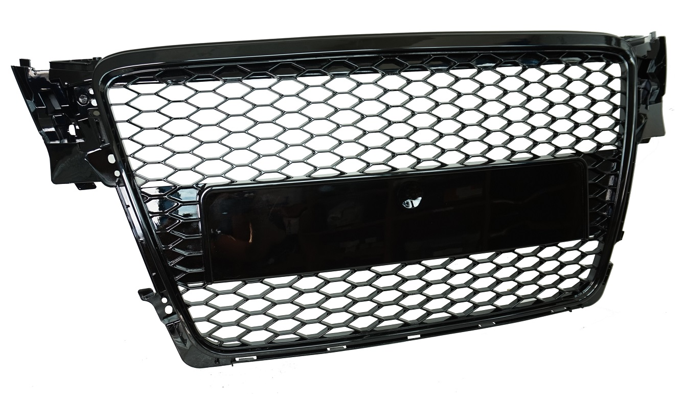 gloss black front grille audi a4 b8 honeycomb mesh 2007. Black Bedroom Furniture Sets. Home Design Ideas