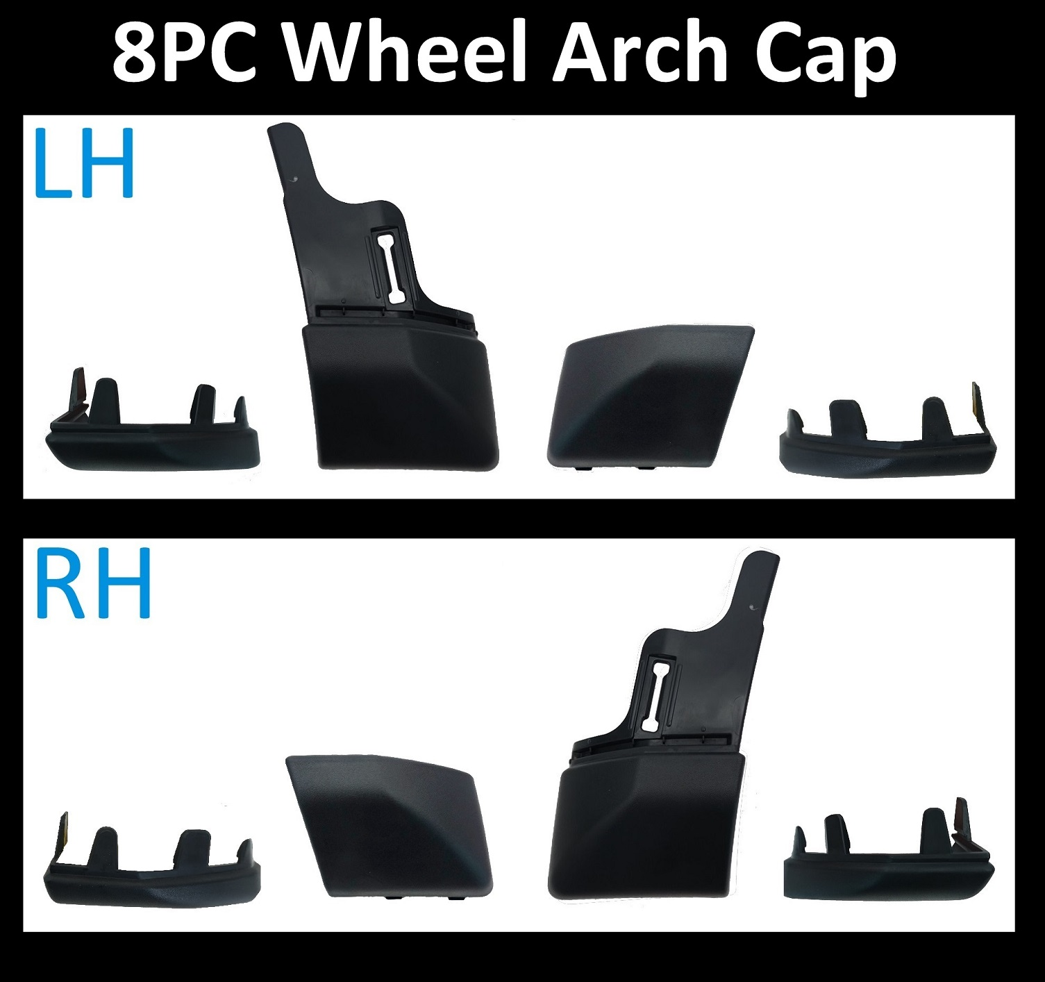 8 Pc Wheel Arch End Cap Kit Land Rover Discovery 4 Spats