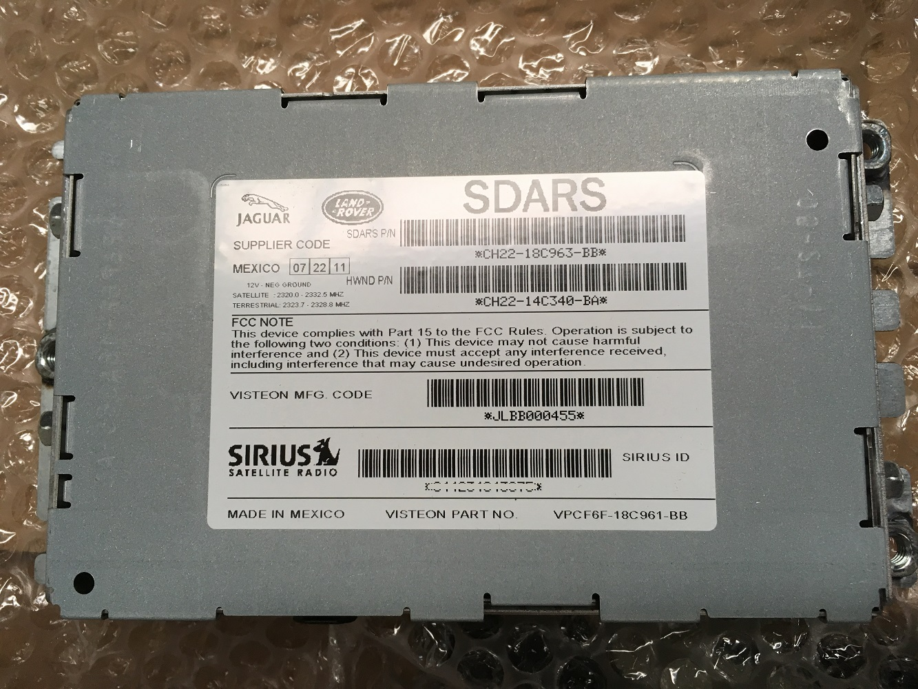 Sdars Sirius Satellite Radio Module Most Land Range Rover