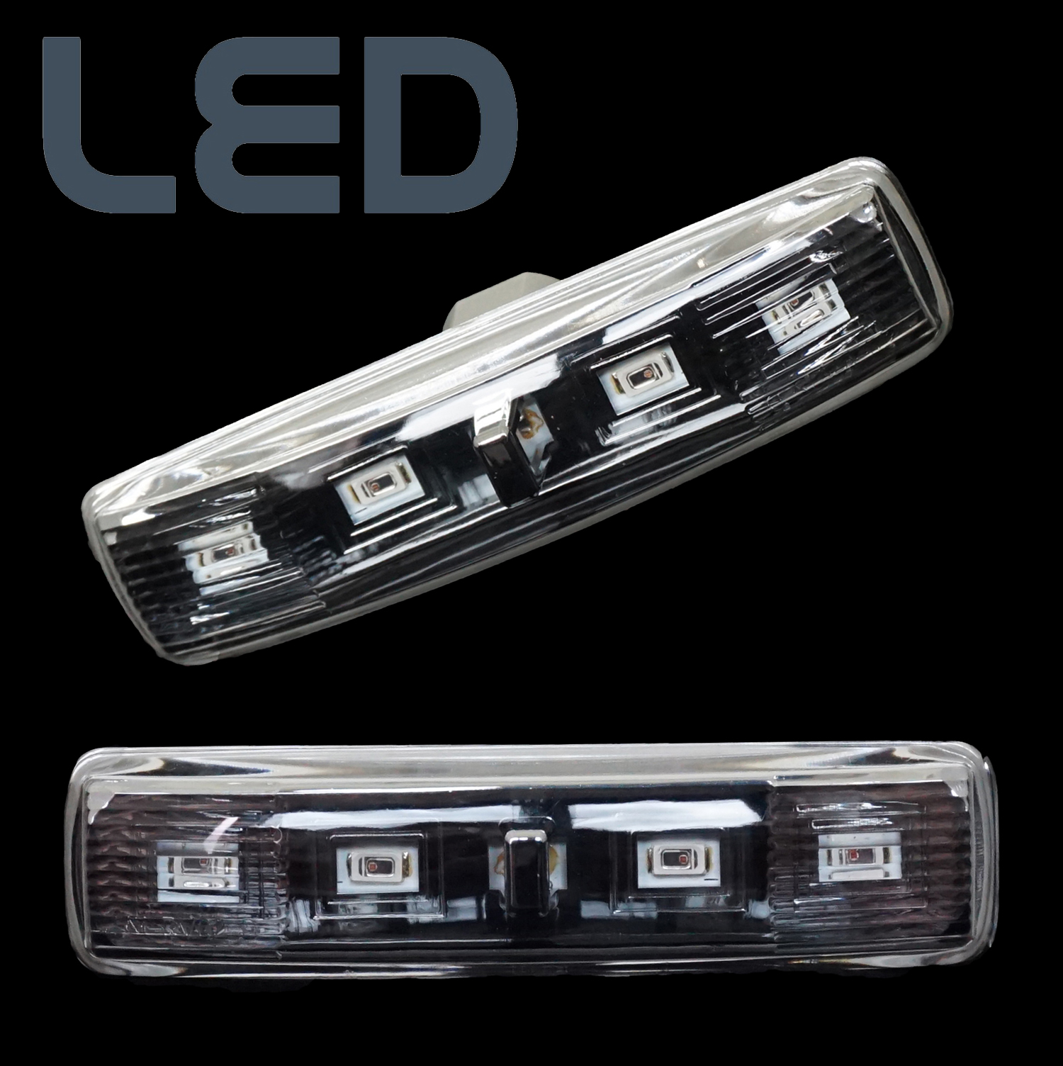 Pair Of Clear Front Indicator Lights For Land Rover: NEW LED Clear SIDE REPEATERS Front Wing Indicators For