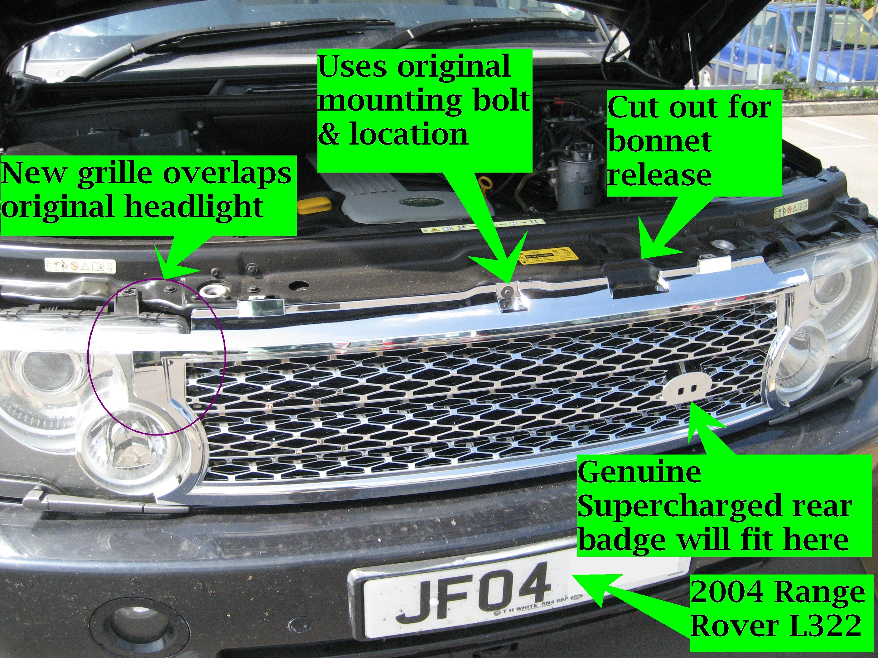 Silver Grey Supercharged Conversion Grille For Range Rover